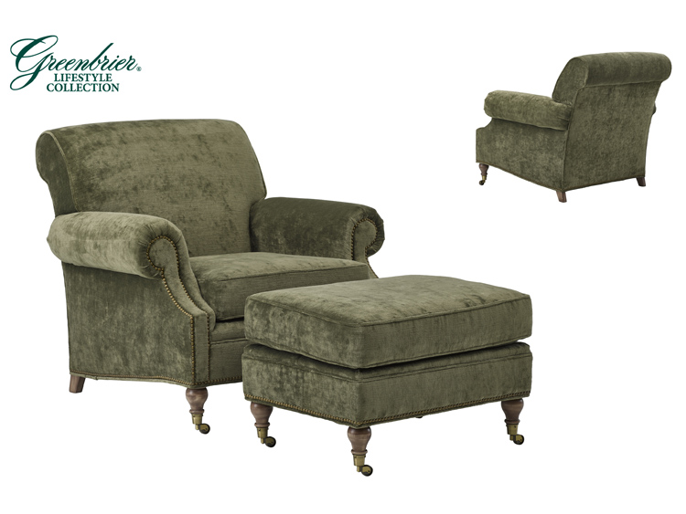 1802 Springhouse Chair / 1803 Springhouse Ottoman (Greenbrier Lifestyle Collection)